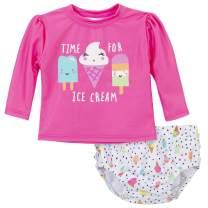 Gerber Girls' Baby Toddler Long Sleeved Rashguard Swim Bathing Suit Set