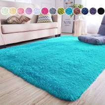 junovo Ultra Soft Area Rugs 5.3 x 7.5ft Fluffy Carpets for Bedroom Kids Girls Boys Baby Living Room Shaggy Floor Nursery Rug Home Decor Mats, Blue