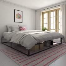 Novogratz Metal Platform Bed with Storage, Black, King