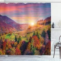 "Ambesonne Nature Shower Curtain, Pastoral Autumn Morning in Mountain Village Fall Tree Surreal Rural Print, Cloth Fabric Bathroom Decor Set with Hooks, 84"" Long Extra, Red Purple"