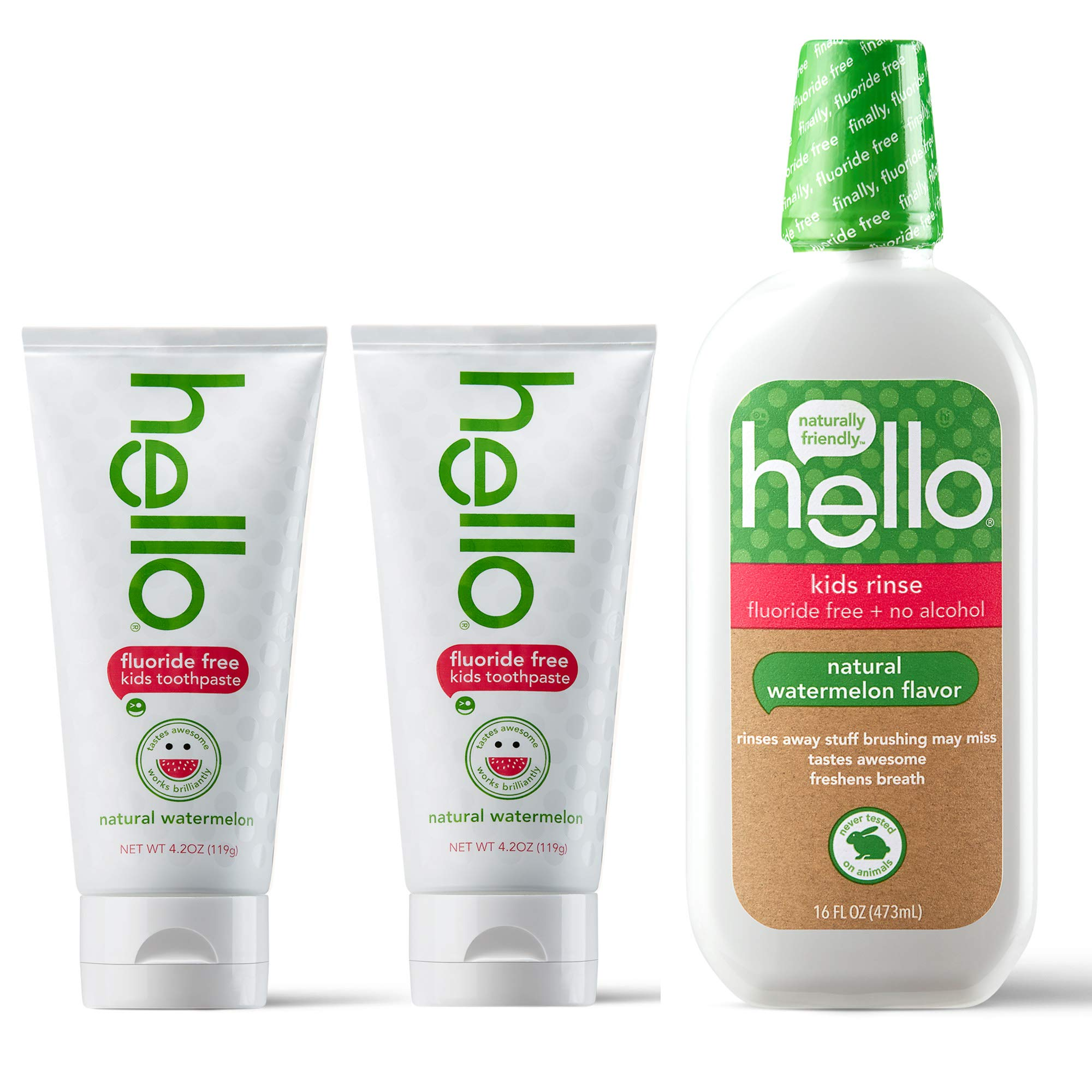 Hello Oral Care Kids Fluoride Free SLS Free Toothpaste Twin Pack with Fluoride Free Rinse, Natural Watermelon