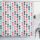 """Ambesonne Pineapple Shower Curtain, Island Pineapple Tropic Fruit Pattern Stamped Minimal Backdrop Pop Art, Cloth Fabric Bathroom Decor Set with Hooks, 75"""" Long, Turquoise Coral"""