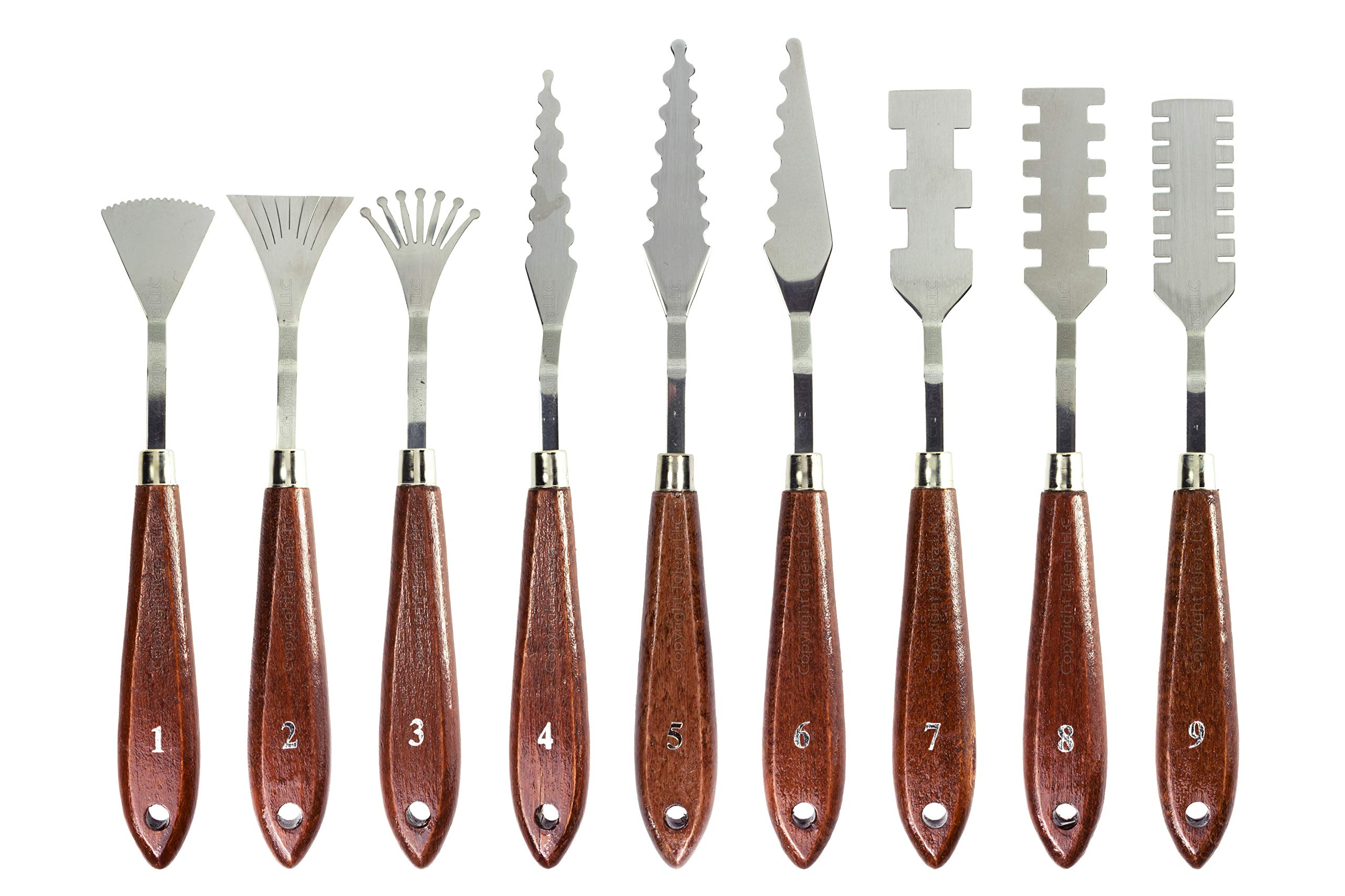 Stainless Steel Palette Knives for Artists - 9 Piece of Spatulas for FX Special Effects - Thin and Flexible Art Tools for Oil Painting, Acrylic Mixing, Etc.