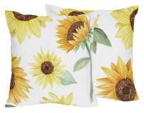 Sweet Jojo Designs Yellow, Green and White Sunflower Boho Floral Decorative Accent Throw Pillows - Set of 2 - Farmhouse Watercolor Flower