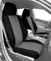 CalTrend Front Row Sport Bucket Custom Fit Seat Cover for Select MINI Cooper Models - DuraPlus (Light Grey Insert and Black Trim)