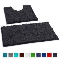 LuxUrux Bathroom Rugs Luxury Chenille 2-Piece Bath Mat Set, Soft Plush Anti-Slip Bath Rug +Toilet Mat.1'' Microfiber Shaggy Carpet, Super Absorbent (Curved Set, Charcoal)