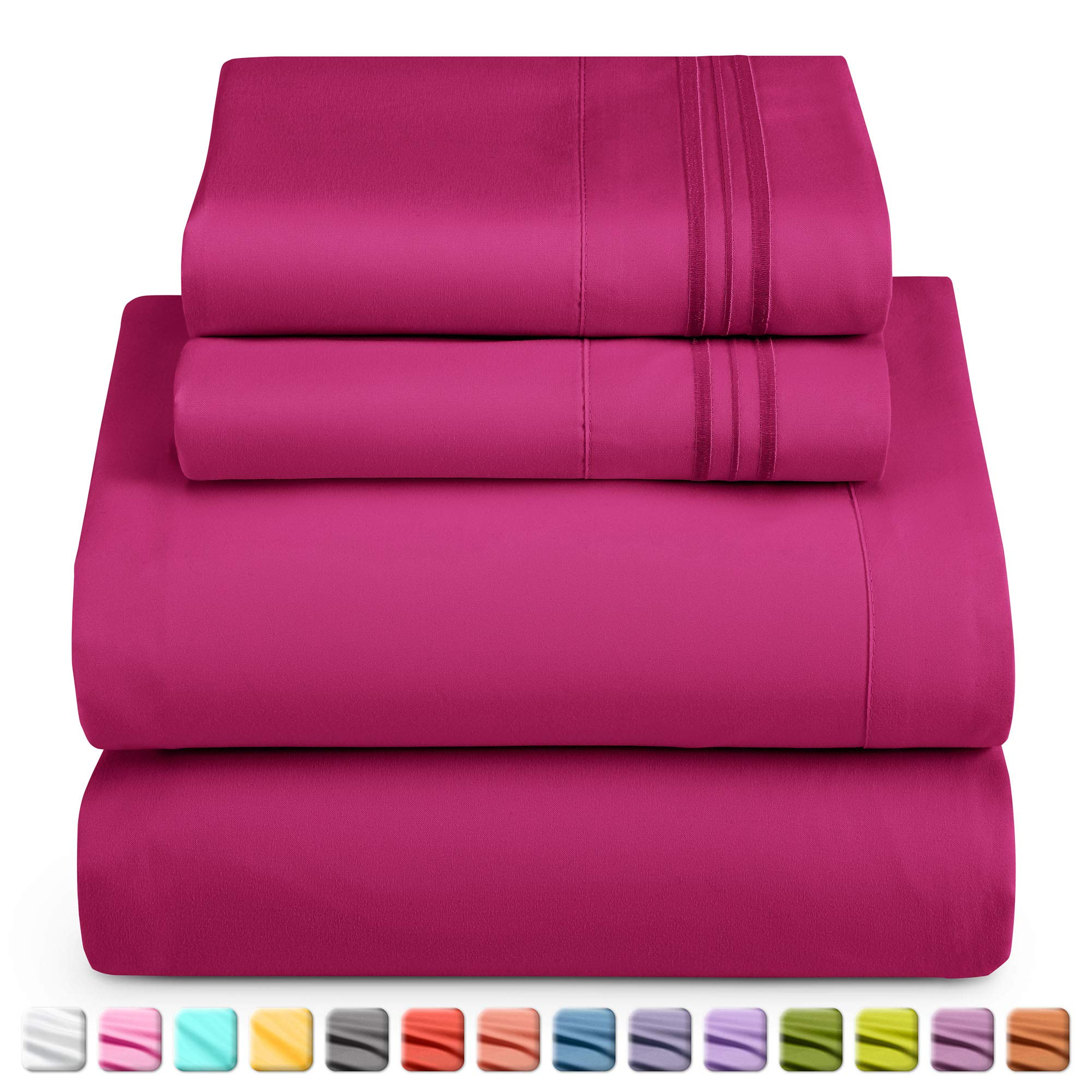 Nestl Deep Pocket Twin XL Sheets: Twin XL Size Bed Sheets with Fitted and Flat Sheet, Pillow Cases - Extra Soft Microfiber Bedsheet Set with Deep Pockets for Twin XL Sized Mattress - Vivacious Magenta