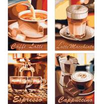 4 Pack 5D DIY Diamond Painting Kit Coffee Full Drill by Number Kits, Latte Macchiato Espresso & Cappuccino Paint with Diamonds Art Craft Cross Stitch Living Dining Room Decor (25x35 cm)