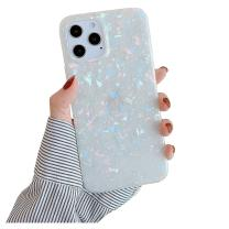 YeLoveHaw Designed for iPhone 12 and 12 Pro Case for Women Girls, Glitter Pearly-Lustre Shell Pattern Phone Case [ Soft, Slim, Full-Around Protective] Compatible with iPhone 12 12Pro 6.1'' (Colorful)