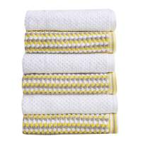 Great Bay Home 6-Piece Hand Towel Set. 100% Cotton Multi-Striped Bathroom Towels. Quick Dry and Absorbent Towels. Set Includes 6 Hand Towels. Milos Collection (6 Pack, Yellow/Gray)