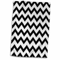 3D Rose Chevron Pattern Black and White Zigzag Hand/Sports Towel, 15 x 22