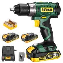 "Cordless Drill, 20V Drill Driver 2x2000mAh Batteries, 398 In-lbs Torque, 21+1 Torque Setting, 1/2"" Metal Keyless Chuck, Fast Charger 2.0A, 2-Variable Speed, 33pcs Accessories for Wood, Handwork(Green)"