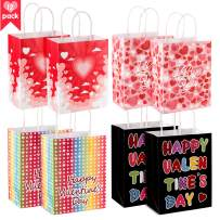Whaline 12 Pcs Paper Bags with Handles, Heart Love Treat Goodie Bagsfor Valentine's Day Party Favor, Sweetest Day and More