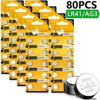 Homesprit (80PCs) Tianqiu AG3 LR41 SR41 L736 392 384 192 Battery 1.5V Button Cell Battery