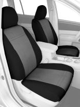 CalTrend Front Row Bucket Custom Fit Seat Cover for Select Toyota Highlander Models - SportsTex (Light Grey Insert with Black Trim)