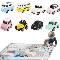 HT HONOR . TRUST 8PCS Die-Cast Cars Toy for 3 4 5 6 Years Old Boys Girls Pull Back Cars with Play Mat Kids Toddlers Toy No Need Battery