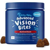 Zesty Paws Eye Supplement for Dogs - Vision Support with Lutein + Vitamin C & Astaxanthin Antioxidants - Dog Vitamins for Eyes + Fish Oil for Omega 3 EPA & DHA for Senior Dogs