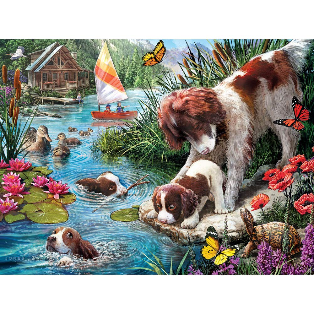 """Bits and Pieces - Swimming Lessons 500 Piece Jigsaw Puzzles for Adults - Each Puzzle Measures 18"""" X 24"""" - 500 pc Jigsaws by Artist Larry Jones"""