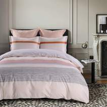 JUCFHY Striped Duvet Cover Queen,600 Thread Count Cotton 3pcs Queen Duvet Cover Set,Grey Stripes on Pink Duvet Cover with Zipper Closure & Corner Ties,Ultra Soft Cozy and Breathable(Queen,Riverside)