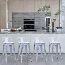 Yongchuang 24 inch Metal Barstools Counter Bar Stools with Backs Set of 4 Distressed White Wood Top