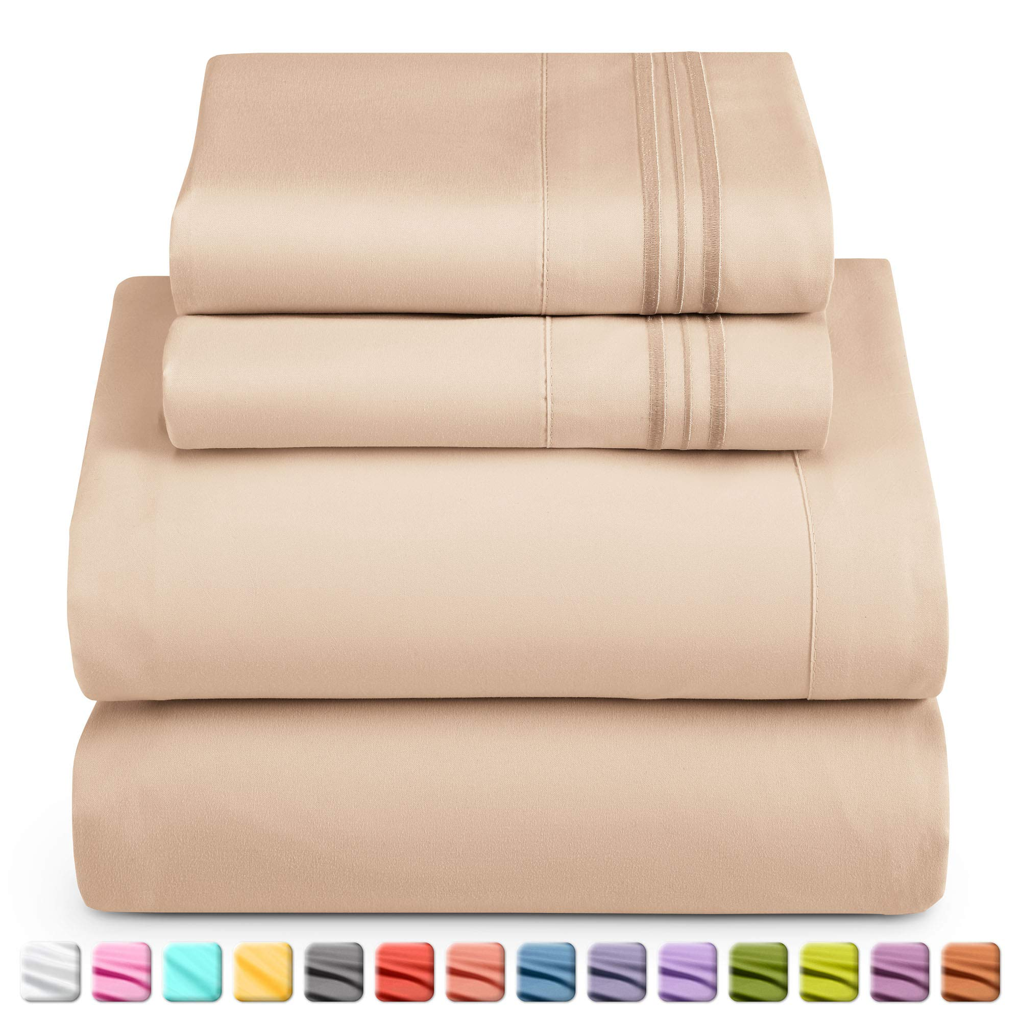 Nestl Deep Pocket Full Sheets: 4 Piece Full Size Bed Sheets with Fitted Sheet, Flat Sheet, Pillow Cases - Extra Soft Microfiber Bedsheet Set with Deep Pockets for Full Sized Mattress - Taupe