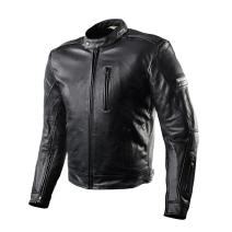 SHIMA Hunter Mens Vintage Leather Motorcycle Jacket With Armor - Black/XL