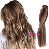 Ubetta Clip in Human Hair Extensions Medium Brown with Honey Blonde Highlighted Clip in Real Extensions 8pcs Double Weft Silky Straight Clip in Hair Extensions 14 Inch 100G for Women