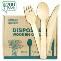Disposable Wooden Cutlery Set Urban Green - Disposable Cutlery - Set of 200 Bio-Degradable Forks, Spoons, and Knives - Compostable Plastic Alternative for Kitchen Utensils - Food-Safe, Eco-Friendly