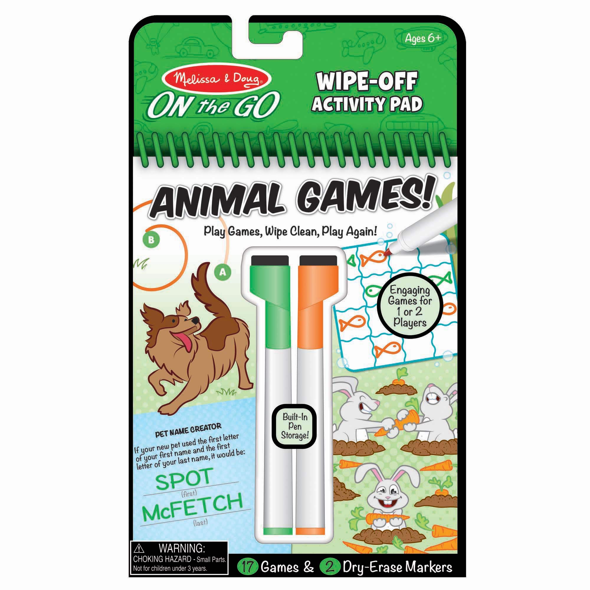 Melissa & Doug On The Go Animal Games Wipe-Off Activity Pad Reusable Travel Toy with 2 Dry-Erase Markers, Great Gift for Girls and Boys - Best for 6, 7, 8 Year Olds and Up, Multi (30171)
