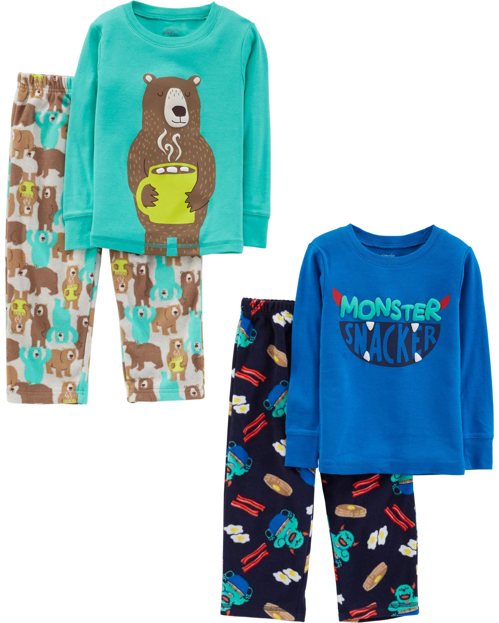 Pack of 4 Simple Joys by Carters Girls 4-Piece Pajama Set Cotton Top /& Fleece Bottom