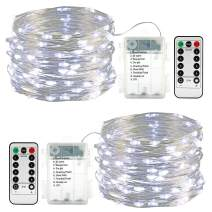 DooVee 2 Pack 33Ft 100 LEDs Fairy Lights, Battery Operated String Lights with Remote Waterproof Twinkle Firefly Lights Copper Wire Lights for Party Bedroom Wedding Decorations - White