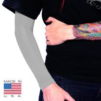 Tat2X Ink Armor Premium Full Arm Tattoo Cover Up Sleeve - No Slip Gripper - U.S. Made - Silver - XL2X (one Sleeve)