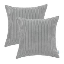 CaliTime Pack of 2 Cozy Throw Pillow Covers Cases for Couch Bed Sofa Ultra Soft Corduroy Striped Both Sides 18 X 18 Inches Storm Grey