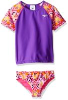Speedo Rashguard-Short Sleeve Swim Shirt Girls' Short Sleeve Printed Rash Guard Two Piece Swim t-Shirt Shorts Set