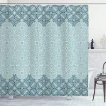 "Ambesonne Morrocan Shower Curtain, Modern Design Eastern Style Forms Ivy Frame Like in 2, Cloth Fabric Bathroom Decor Set with Hooks, 84"" Long Extra, Seafoam"