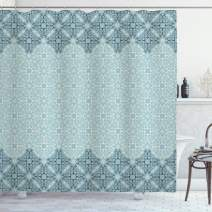 """Ambesonne Morrocan Shower Curtain, Modern Design Eastern Style Forms Ivy Frame Like in 2, Cloth Fabric Bathroom Decor Set with Hooks, 84"""" Long Extra, Seafoam"""