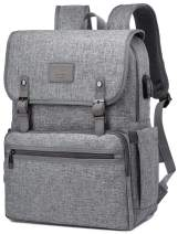 Anti Theft Laptop Backpack Men Women Vintage Backpack Bookbag School College Backpacks Stylish Water Resistant Backpack with USB Port Fashion Grey Fits 15.6 Inch Laptop and Notebook
