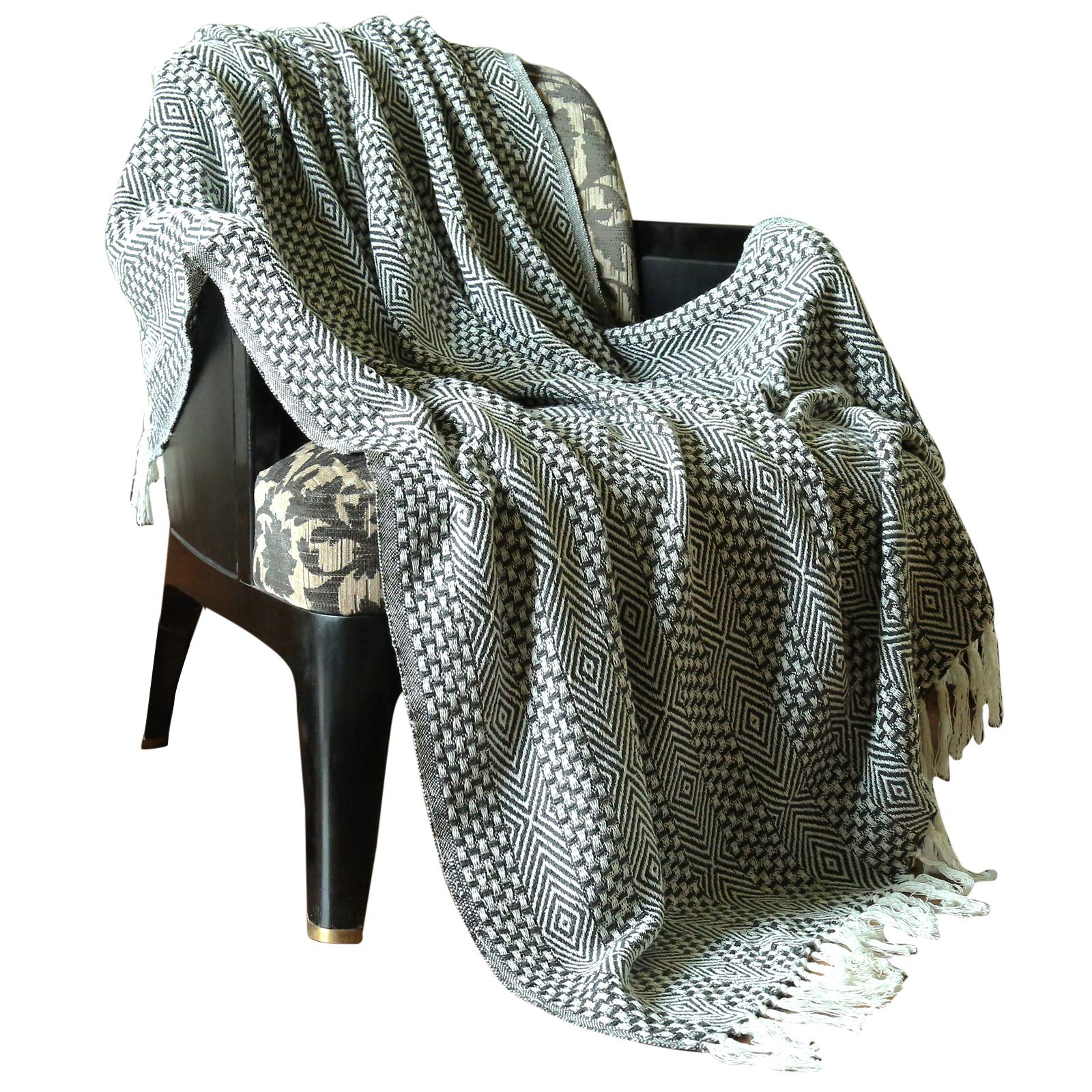 RAJRANG BRINGING RAJASTHAN TO YOU Rustic Farmhouse Throw Blanket - Vintage Boho Room Decor Blankets Soft Cotton Cozy Sofa Bed Throw with Cute Tassel - Charcoal Grey - 50 x 60 Inches