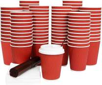 100 Pack Disposable Coffee Cups with Lids 12 Oz Ripple Wall Insulated Corrugated Hot Paper Cup with Stirring Straws and Napkins by Galashield