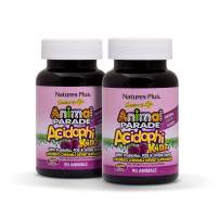 NaturesPlus Animal Parade Source of Life AcidophiKidz Childrens Chewables (2 Pack) - 90 Animal Shaped Tablets - Natural Berry Flavor - Vegetarian, Gluten-Free - 180 Total Servings