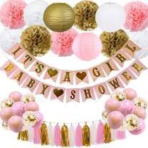 CHARS Baby Shower Decoration for Girl - Pink and Gold Baby Shower Backdrop It's A Girl & Baby Shower Banner Paper Lantern Pompoms Flowers Ball Balloons Foil Tassel