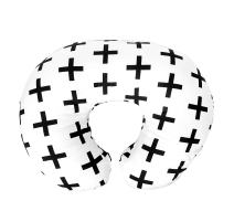 Premium Quality Nursing Pillow Cover by Mila Millie - Nordic Swiss Black Cross Unisex Design Slipcover - 100% Cotton Hypoallergenic - Perfect for Breastfeeding Mothers - Baby Shower Gift