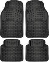 OxGord Brick-Style All-Weather Rubber Floor-Mats - Waterproof Protector for Spills, Dog, Pets, Car, SUV, Minivan, Truck - 4-Piece, Black