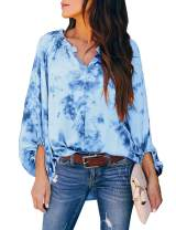 GRAPENT Women's Blue Casual Tie Dye Print Long Balloon Sleeves Shirt Loose V Neck Blouse Tops Small
