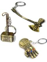 Sio & Tan Thor Stormbreaker Hammer Axe Thanos Glove Iron Man Keychain Infinity Gauntlet Key chain Key Ring