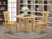 3 Piece Sudbury Set With One Round Dinette Table And Two Slat Back Dinette Chairs With Wood Seat In A Golden Oak Finish.