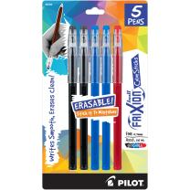 PILOT FriXion ColorSticks Erasable Gel Ink Stick Pens, Fine Point, 2 Black/2 Blue/1 Red Inks, 5-Pack (32442)