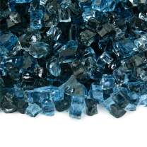 Kenai Blue - Fire Glass Blend for Indoor and Outdoor Fire Pits or Fireplaces   10 Pounds   1/4 Inch