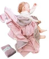 Lightweight Baby Blankets for Girls Boys-Mebien Stroller Crib Nursery Bedding Blanket Quilt Swaddle -Infant Toddler Newborn Unisex -Baby Shower Registry Gifts- Jacquard Elephant Rose&Grey 43x47