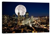 LightFairy Glow in The Dark Canvas Painting - Stretched and Framed Giclee Wall Art Print - City Urban Decor Full Moon San Francisco - Master Bedroom Living Room Decor - 6 Hours Glow - 24 x 16 inch